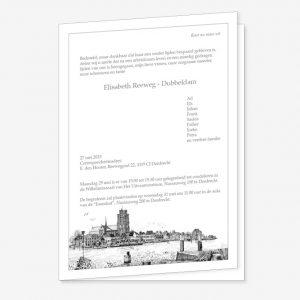 Rouwkaart Skyline Dordrecht Pentekening