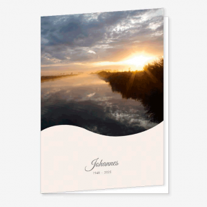 Rouwkaart Polder water ondergaande zon