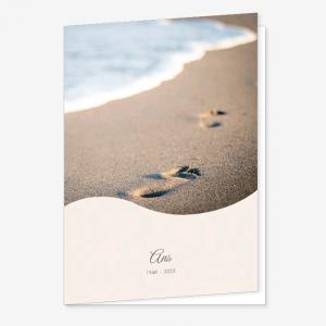 Rouwkaart Voetstappen in het zand