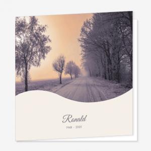 Rouwkaart Winterweg avondrood