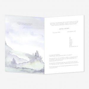 Rouwkaart Aquarel Berglandschap