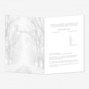 Rouwkaart Winterweg bomen