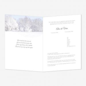 Rouwkaart Bomen/huis in rijp