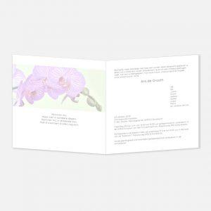 Rouwkaart Orchidee groene achtergrond